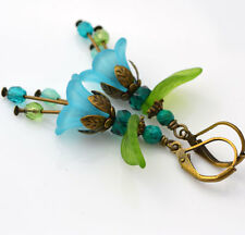 """Forget Me Not"" Blue Green Glass Turquoise Lucite Flower Vintage Style Earrings"