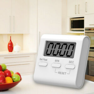 White LCD Digital Kitchen Cooking Timer Count Down Up Loud Alarm Magnetic Meter