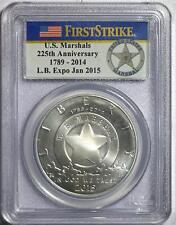 2015 P FIRST STRIKE LB EXPO JAN 2015 US MARSHALS SILVER $1 COIN PCGS MS70