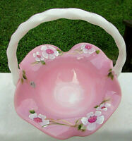 "Fenton Rosalene Glass Hand Painted Dogwood Diamond Flute Basket 8.5""H x 7.75""W"