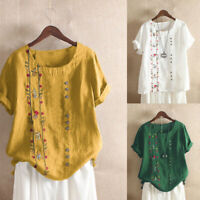 Bohemian Women Cotton Embroidered Sleeve M-5XL Short Blouse Floral Tops T Shirt