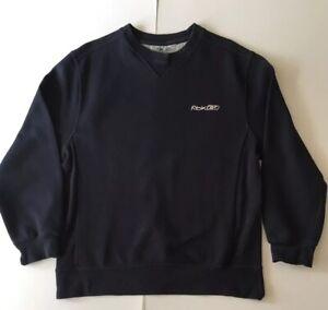 Reebok Boys 14 16 Years Sweatshirt Faded Navy Blue Medium Wash Logo Plain Retro