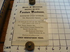 Vintage Early Paper: 1874 Beal & Hooper Furniture Warehouse Haymarket square