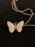 Trifari White And Gold Tone Vintage Butterfly Necklace MJ