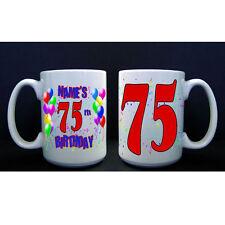 75th Birthday Party (Age 75) PERSONALIZED CUSTOM BIRTHDAY BALLOON BIG MUG / CUP