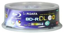 10 RIDATA 50GB Blank Blu-Ray BD-R DL 6X Dual Double Layer Inkjet Printable Disc
