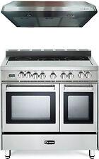 "Verona Vefsee365Dss 36"" Electric Double Oven Range Stainless Steel Hood Package"