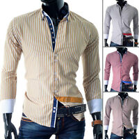 Mens Elegant Shirt Striped Slim Fit Comfortable Cut Formal Casual Cotton Square