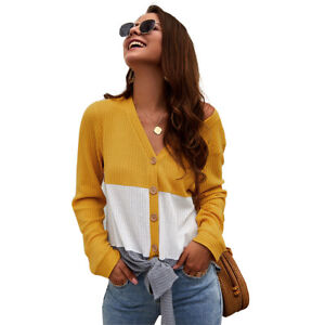 Womens V-neck Knitted Shirt Long Sleeve Colorblock Blouse Casual Button Tops