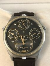 Rare Breitling 18K/SS World Time Pilots Watch Vintage Men's Watch 4 Time Zones