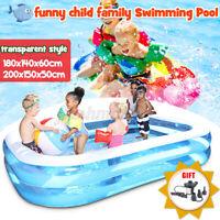 Children Inflatable Rectangle Swimming Pool Garden Outdoor Summer Kids
