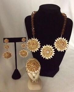 Akkad Sunflowers Statement Necklace, Bangle Bracelet and Pierced Dangle Earrings