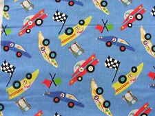 CUTE! RACE CARS  ON BLUE BY MARCUS BROTHERS - 2.3 YARDS