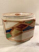 "Vintage Handmade & Painted Ceramic Covered Dish Bowl w/ Lid 7""x 5"" ~ JAPAN"