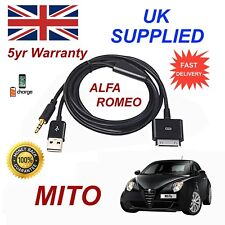 Per ALFA ROMEO MITO iPhone 3GS 4 4 S iPod 30 PIN USB & 3.5 mm cavo Audio Aux nero