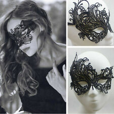 Black Lace Eye Mask Ball Venetian Prom Costume Masquerade Halloween Party Dress