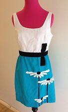 *ON SALE* AUTH BETSEY JOHNSON BLUE & WHITE W/FLOWERS LINEN DRESS-8