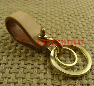 Handmade vegetable tanned leather Brass Shackle key chain ring holder H357