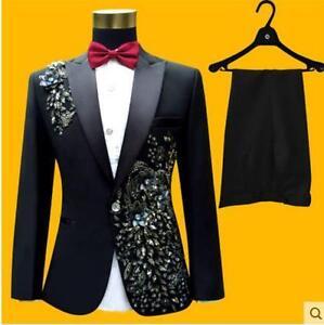 Mens Embroider Suit Jacket Pant Wedding Sequin Bowtie Blazesr Coat Trousers Sets