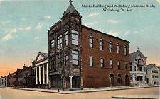 F42/ Wellsburg West Virginia Postcard  1913 Marks Building National Bank 7