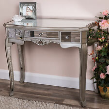 Silver Mirrored Dressing Table Console Bedroom Furniture Ornate French Chic Home