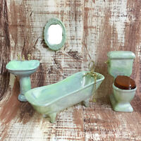 1:12 Dollhouse miniature green porcelain bathroom set toilet basin bathtub Sh EO