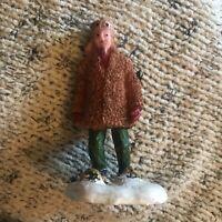 Lemax Christmas Village Figure Man Walking in Snow Shoes Fur Jacket Earflap Hat