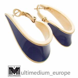 Pierre Lang Creolen Ohrringe vergoldet Emaille Blau hoop earrings 🌺🌺🌺🌺🌺
