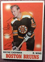 WAYNE CASHMAN *SIGNED* *ROOKIE CARD* 1970-1971 Topps #7 (RC) *EX+* Boston Bruins