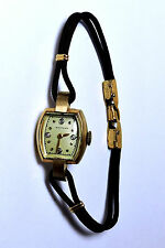 Antique Deco 14k Yellow Gold 21j WALTHAM Womans Wrist Watch w/ Diamonds H532