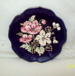 Cobalt Blue Beautiful 13cm Display Plate Filled Flower Motif Gold Gilt Trim