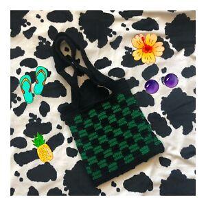 handmade trending checkered crochet tote bag