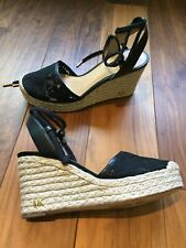 Michael Kors Black Lace Espadrille Wedge Heels Sandals Size 7.5