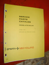 Up To 1974 Sperry New Holland Models 278 Baler Service Parts Catalog