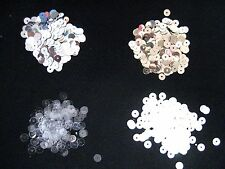 1000 Round Sparkle Sequins Paillettes 5mm,  white, crystal AB, Silver Gold Clear