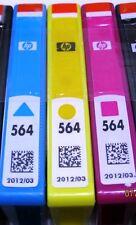 3 GENUINE HP 564 INK CARTRIDGES CYAN MAGENTA YELLOW FOR USA PRINTER B8550 C6340