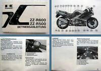 Kawasaki ZZ-R600 ZZ-R500 ZX600-E4 ZX500-D4 Betriebsanleitung 1995