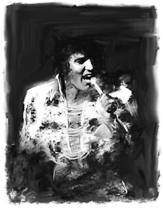 Elvis original paintings portrait in acrylic on canvas by Brian Tones