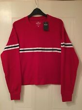 New Hollister Womens Red Long Sleeved Striped Boyfriend Tee Size XS