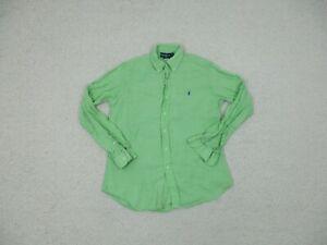 Ralph Lauren Button Down Shirt Medium Adult Green 100% Linen Purple Pony Mens M