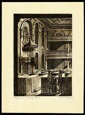 C. 1935 Albert Thayer Engraving, Colonials in Old South Meeting House of Boston