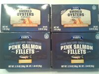LOT OF 2 PAMPA SMOKED OYSTERS Sunflower OIL 3 OZ & 2 PINK SALMON FILLETS 3.75 OZ