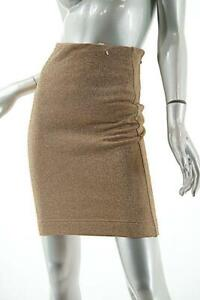 BYBLOS Metallic Gold Cotton Blend VINTAGE Knit Tubular Skirt   NWT  Sz 38 US2