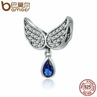 BAMOER 925 Sterling silver Charm Angel Wings With Blue CZ dangle For bracelet
