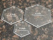 """Quilting Templates- 3 Piece Hexagon Set - 2"""", 3"""" and 4"""" Clear Acrylic WITH HOLES"""