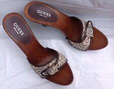 NWOB, Guess Brown Wooden heels, logo fabric,  G w/rhinestones, Sizes 8.5M or 9M