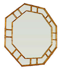 """IMPERIAL PALACE"" STYLIZED BAMBOO OCTAGONAL MIRROR - ANTIQUE GOLD FINISH"