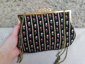Retro Tapestry Purse, Floral Needlepoint Handbag, Gold Metal Frame Evening Bag