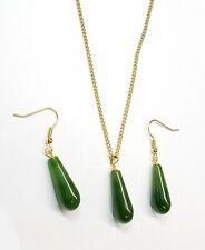 Jade Gemstones Teardrop Matching Set, Earrings & Pendant .15x 7mm