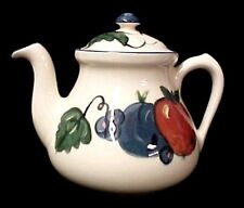 Teapot Buckeye Pottery Stoneware USA Tea Pot Kettle Fruit Designer Leaf New